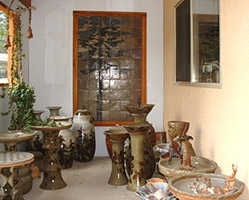 Garden pottery display